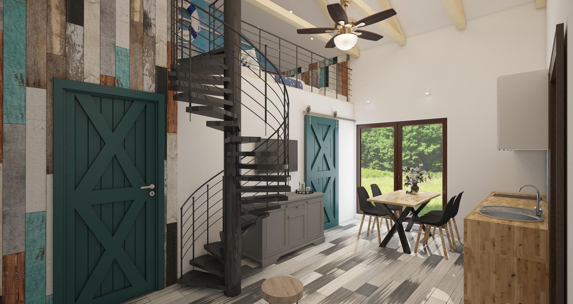 salon w stylu marynistycznym domek Kąty Rybackie